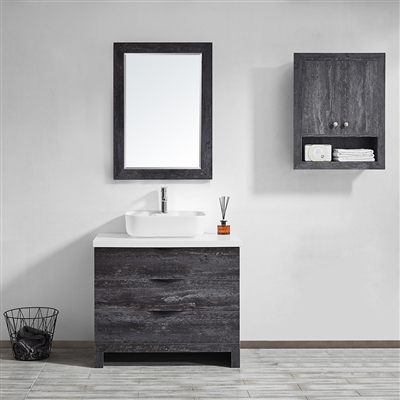 Vinnova Spencer 36-inch Single Vanity in Suede Elegant Grey with Fine White Quartz Stone With Mirror
