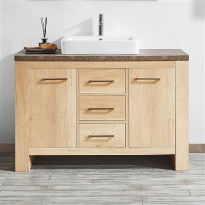Vinnova Alpine 48-inch Single Vanity in Glacier Canyon Oak with White Drop-In Porcelain Vessel Sink Without Mirror