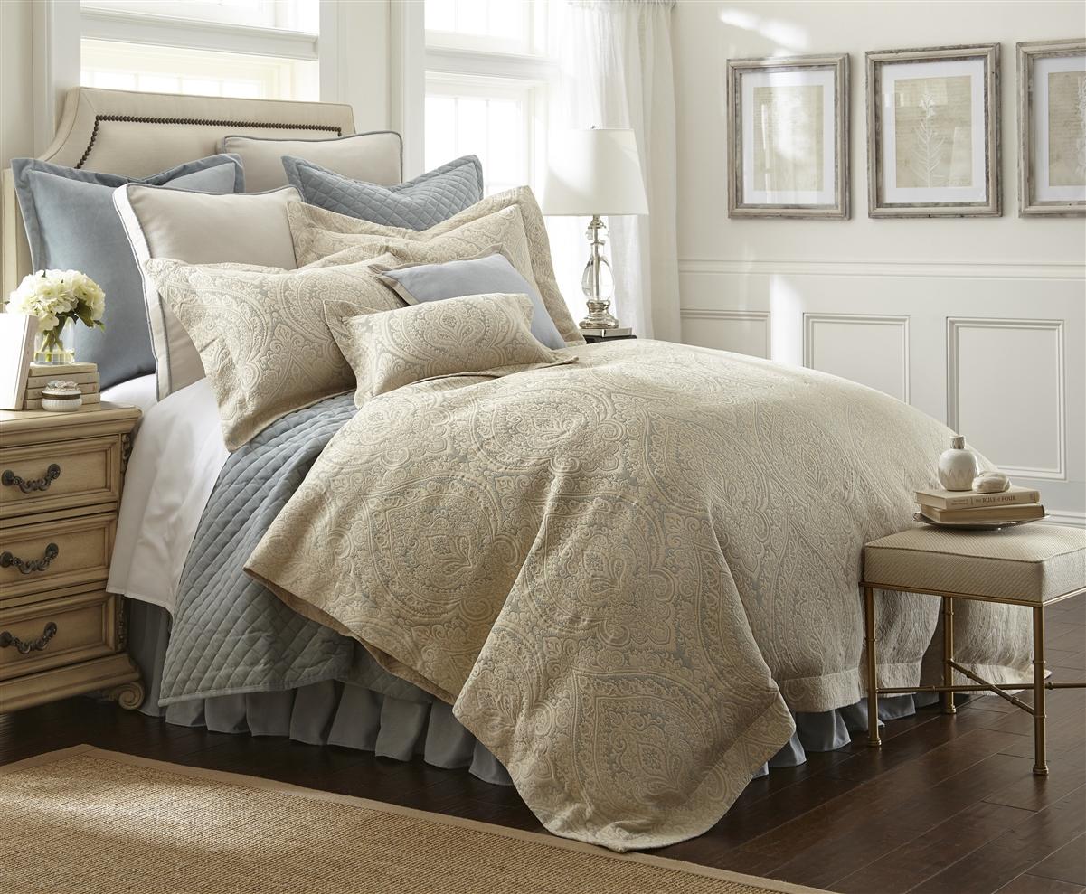 Austin Horn Light Blue Beige 3 Piece Matelass Comforter Set