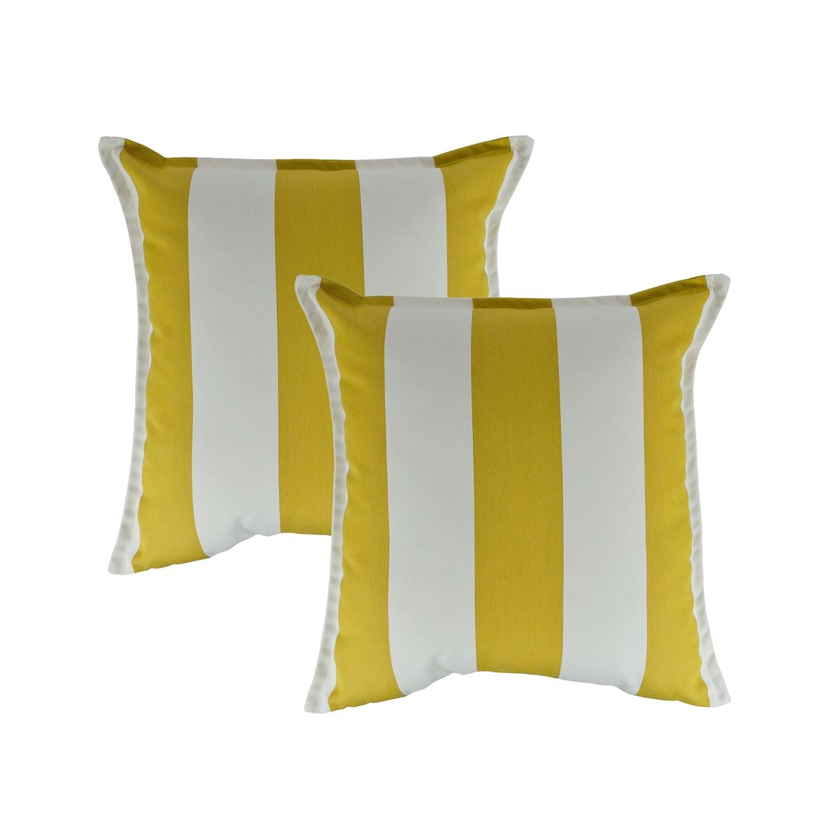 Sunbrella 18 X 18 Inch Yellow White Stripe Outdoor Pillows Set Of 2