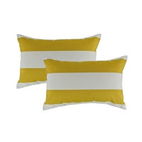 Austin Horn Classics Sunbrella Cabana Citron Boudoir Outdoor Pillow (set of 2)