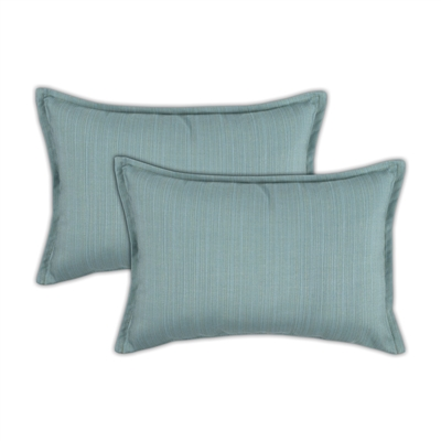Austin Horn Classics Sunbrella Dupione Celeste Boudoir Outdoor Pillow (set of 2)