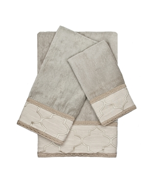 Austin Horn En'Vogue Ascot Grey Gimp 3-piece Embellished Towel Set
