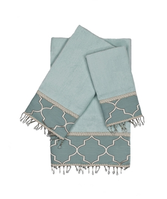 Austin Horn En'Vogue Stanton Beads Aqua 3-piece Embellished Towel Set