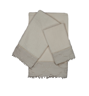 Austin Horn En'Vogue Stanton Beads Ecru 3-piece Embellished Towel Set