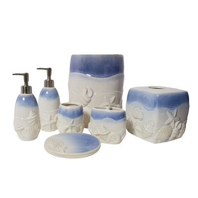 Sherry Kline 7-piece Ceramic Blue Shell Coastal Bath Accessory Set
