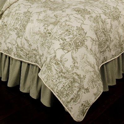 Sherry Kline Country Toile Sage KING Bedskirt with 17-inch Drop