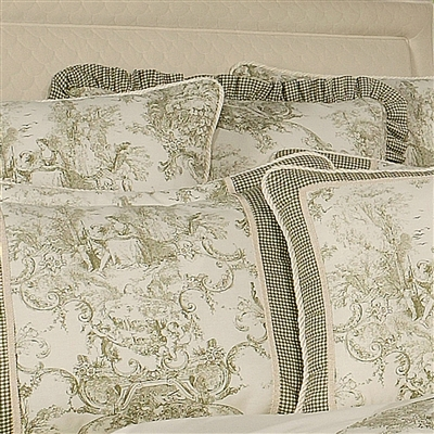Sherry Kline Country Toile Sage Euro Sham Ruffles Edge