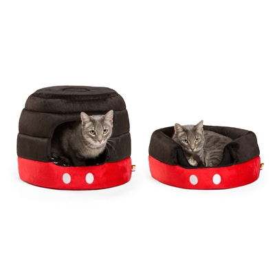 Disney® Mickey Mouse Pants 2-in-1 Honeycomb Hut Cuddler, Black/Red, STANDARD (Dog Bed/Cat Bed)