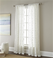 Sherry Kline Ferndale Luxury Grey Embroidered Sheer Curtain Panel Pair