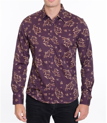 House of Lords Men's Long Sleeve Slim-fit Printed Shirt