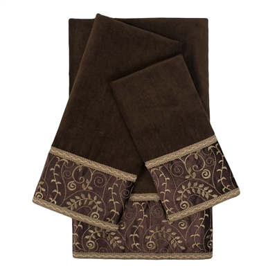 Sherry Kline Inspire Brown 3-piece Embellished Towel Set