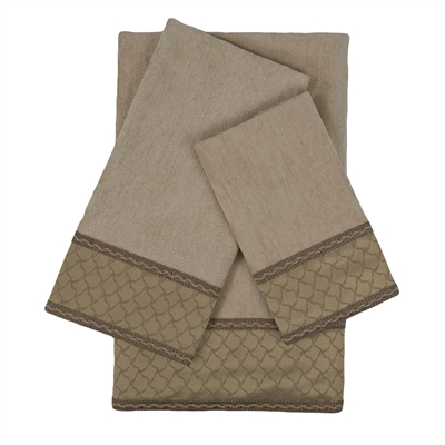Sherry Kline Luxuriant Taupe 3-piece Embellished Towel Set