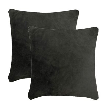 Olivia Quido Lux Grey Luxury Faux Fur 24-inch Pillow 2-pack