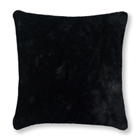 Olivia Quido Bask Black Luxury Faux Fur 24-inch Pillow