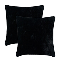 Olivia Quido Bask Black Luxury Faux Fur 24-inch Pillow 2-pack