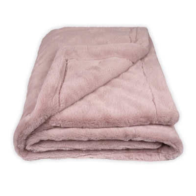 Olivia Quido Luxury Faux Fur Blush Pink Throw Blanket
