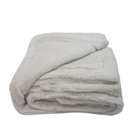 Olivia Quido Luxury Faux Fur Ivory Throw Blanket