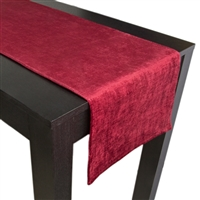 Olivia Quido Coventry Tailored Velvet Luxury Table Runner - Red