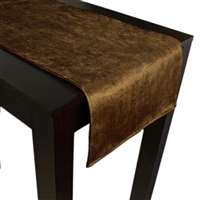 Olivia Quido Coventry Tailored Velvet Luxury Table Runner - Brown