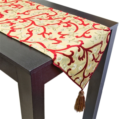 Olivia Quido Milton Swirl Cut Velvet Luxury Table Runner