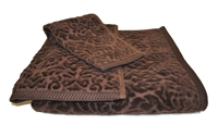 Olivia Quido Scultured Jacquard 3-Piece BROWN Towel Set