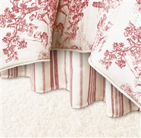 Olivia Quido Cosmopolitan Toile Red Bedskirt