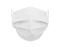 Washable 4-Layer Cotton Pleating Face Covering with Filter Pocket (Pack of 3) - WHITE