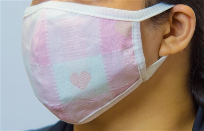 Washable Astrid Heart Pink Cotton Fabric Face Covering (Earloop)