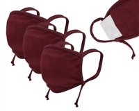 "Washable 3-Layer Jersey Cotton Face Covering with Filter Pocket and ADJUSTABLE Earloop (Pack of 3), ""ONE-SIZE-FITS-ALL"" - BURGUNDY"