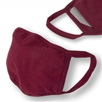 Washable 3-Layer BURGUNDY Jersey Cotton Face Covering with Filter Pocket (Pack of 3)