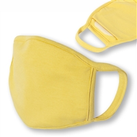 Washable 3-Layer YELLOW Jersey Cotton Face Covering with Filter Pocket (Pack of 3)