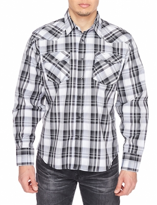 Rodeo Clothing Men's Printed Dress Shirt Long Sleeve (Plaid)