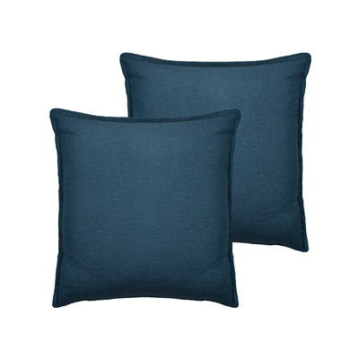 Sherry Kline Lombard Linen Blue Reversible 20-inch Decorative pillow (set of 2)