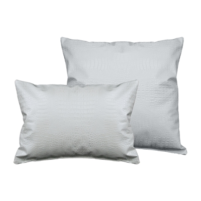 Sherry Kline Gator Faux Leather Pearl White Combo Pillows (Set of 2)