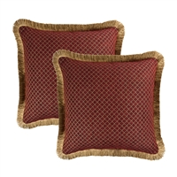 Sherry Kline Tangiers Red Chenille 18-inch Decorative Pillow (Set of 2)