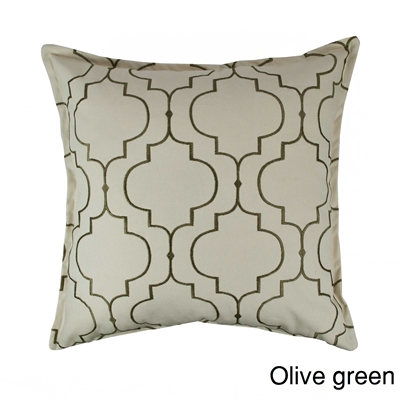 Sherry Kline Hampton Olive Green Embroidered Reversible 20 inch Decorative Pillow