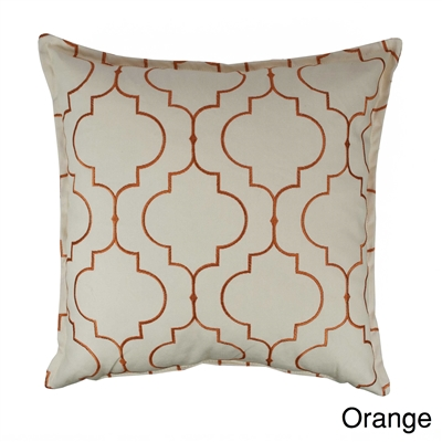 Sherry Kline Hampton Orange Embroidered Reversible 20 inch Decorative Pillow