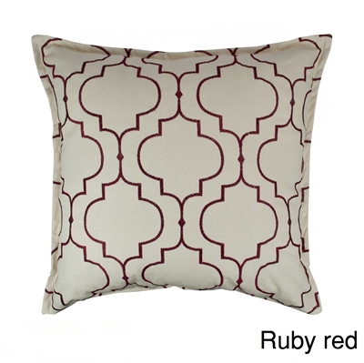 Sherry Kline Hampton Ruby Red Embroidered Reversible 20 inch Decorative Pillow