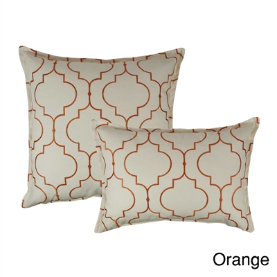 Sherry Kline Hampton Orange Embroidered Reversible Combo Decorative Pillow