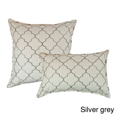 Sherry Kline Westbury Silver Grey Embroidered Combo Decorative Pillow