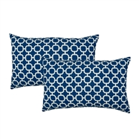 Sherry Kline Hockley D.Blue Outdoor Boudoir Pillow (Set of 2)