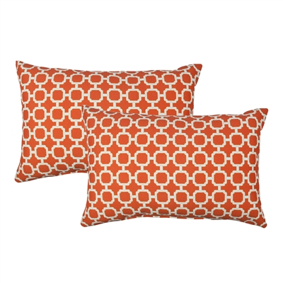 Sherry Kline Hockley B.Orange Outdoor Boudoir Pillow (Set of 2)