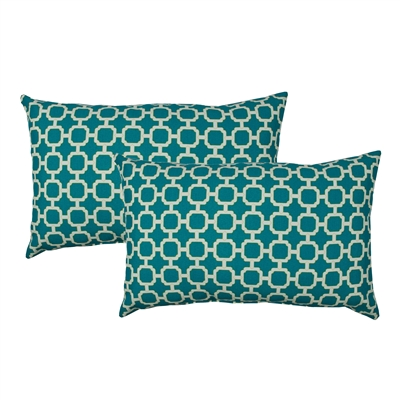 Sherry Kline Hockley Teal Outdoor Boudoir Pillow (Set of 2)