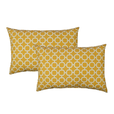 Sherry Kline Hockley Yellow Outdoor Boudoir Pillow (Set of 2)