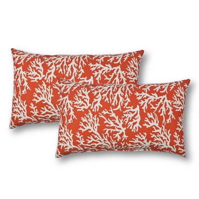 Sherry Kline Coral Reef Orange Outdoor Boudoir Pillow (Set of 2)