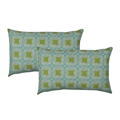 Sherry Kline Circle Time Blue Outdoor Boudoir Pillow (Set of 2)