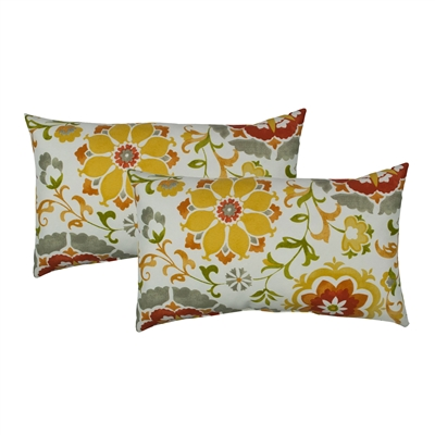Sherry Kline Flower Power Orange Outdoor Boudoir Pillow (Set of 2)