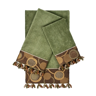 Sherry Kline Nanterre Sage 3piece Embellished Towel Set