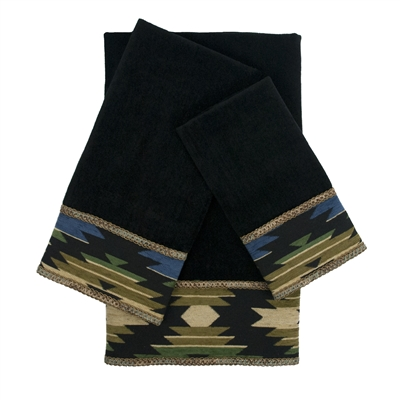 Sherry Kline Phoenix Black 3-piece Embellished Towel Set